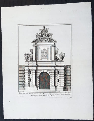 1740 Wolff & Corvinus Antique Architectural Print of Berlin Gate, Leipziger Tor