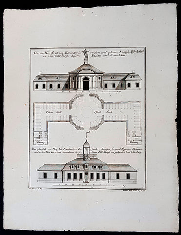 1740 Wolff & Corvinus Antique Arch Print of Charlottenburg Palace Stables Berlin