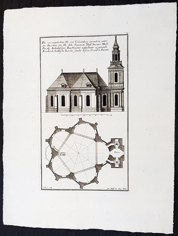 1740 Wolff & Corvinus Antique Arch. Print Jerusalem Church Friedrichstadt.Berlin