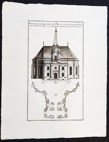 1740 Wolff & Corvinus Antique Arch. Print of the Parochialkirche in Mitte Berlin