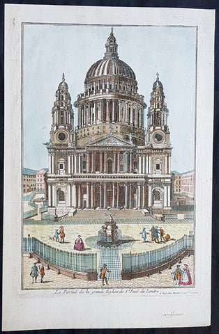 1770 Louis-Joseph Mondhare Antique Print View of St Pauls Cathedral, London UK