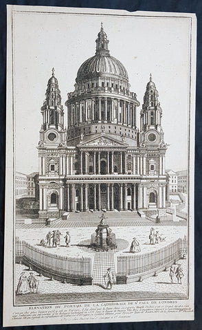 1770 Louis-Joseph Mondhare Antique Print View of St Pauls Cathedral, London England