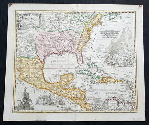1712 J B Homann Large Antique 1st Edition Map of North & Central America