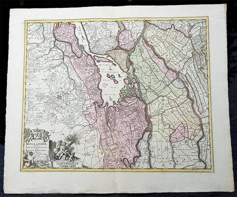1670 Nicolas Visscher Large Antique Map of South Holland Dordrecht, Gouda, Breda