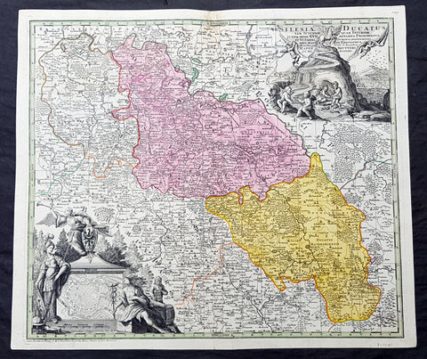 1730 G M Seutter Large Antique Map of The Silesia Region of Poland inset Wroclaw
