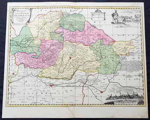 1715 Pieter Schenk Large Antique Map of The Duchy Oels, Silesia Region of Poland