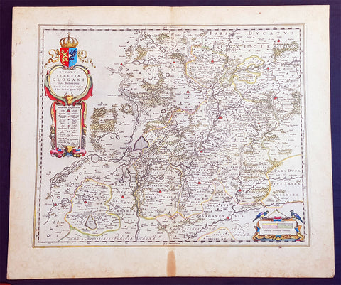 1634 Joan Blaeu Large Antique Map of Glogow, Lower Silesia, Poland