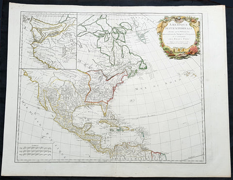 1783 R. De Vaugondy Large Antique 1st Post Revolutionary Map of North America
