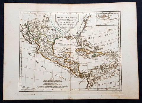 1795 Didier De Vaugondy Antique Map of Texas, Mexico, California, United States
