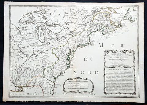 1756 J B Nolin Large Rare Antique Map of North America, Great Lakes, Indian War