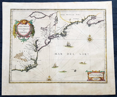 1639 J. Jansson Antique Map of North America Virginia to New York to New England