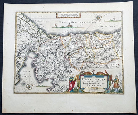 1629 Willem Blaeu Antique Map of the Holy Land Palestine Jerusalem Twleve Tribes