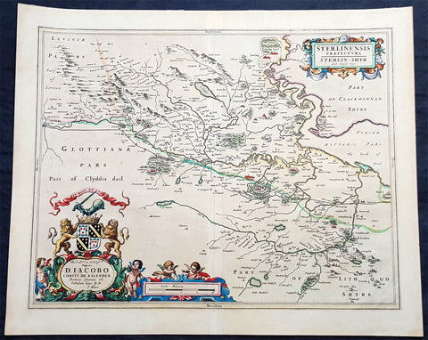 1645 Joan Blaeu Large Antique Map of The County of Stirling, Scotland, Falkirk