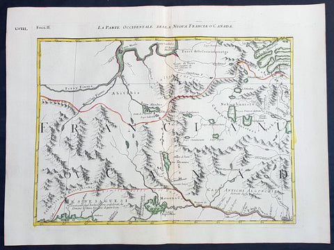 1778 Antonio Zatta & John Mitchell Antique Map of East Quebec & Western Ontario