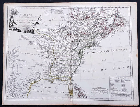1785 De Vaugondy & Jefferson Antique Early Map of The United States of America