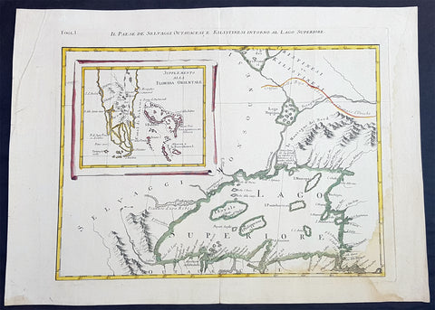 1778 Antonio Zatta & John Mitchell Antique Map of Lake Superior & Florida