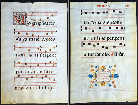 <b><i>1537 Large Vellum Latin Antiphonary Music Sheet Prayers to Dead & St Augustine</b></i>