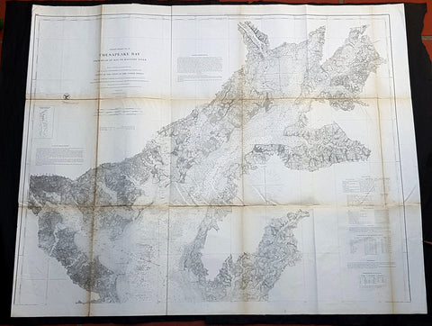 1861 US Coast Survey & Bache Large Antique Map of North Chesapeake Bay, America