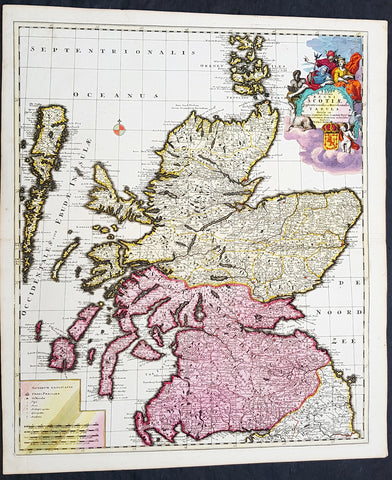 1708 Pieter Schenk Large Antique Map of Scotland - Beautiful Hand Colouring