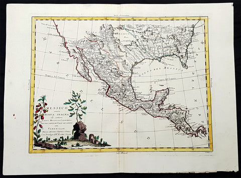 1785 Antonio Zatta Large Antique Map of Southern United States, Texas, Mexico
