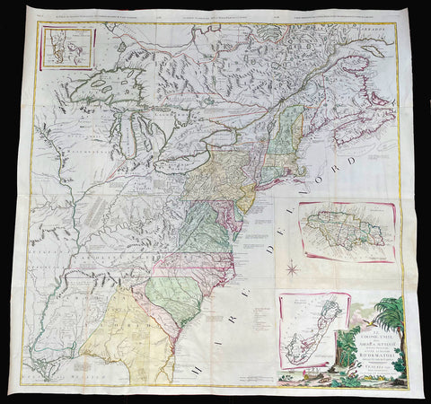 1778 John Mitchell & Antonio Zatta Large Antique Map of North America - Rare