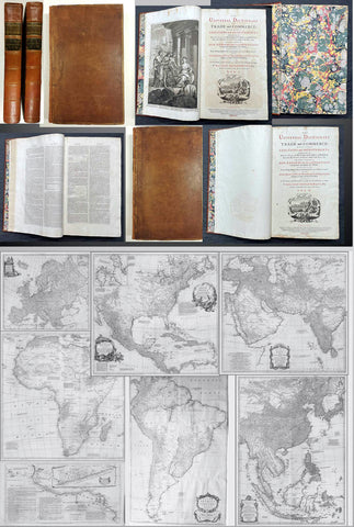 1774 Malachy Postlethwayt Antique 2 Volume Atlas 7 Large Cont Maps North America