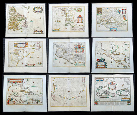 1662 Joan Blaeu Complete Set of 9 Antique Maps of North America from Atlas Major, 1st Edition