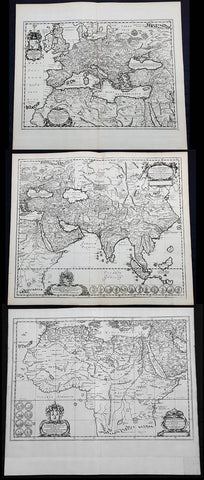 1650 Jan Jansson & Nicolaas Blankaert 3 x Large Antique Maps Europe, Asia & Africa