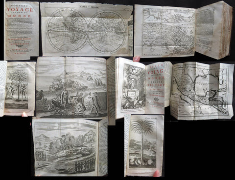 1723 William Dampier 2 Volumes of World Voyages to America Australia Asia - 20 x Maps & Plates