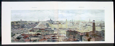 1888 Picturesque Atlas Large Antique Print View of Melbourne from the Law Courts