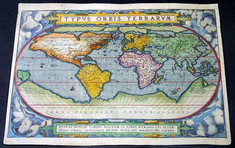 1588 Abraham Ortelius Antique Oval World Map - Rarest Edition, Ort 2:3