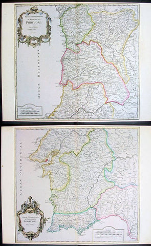 1757 De Vaugondy Large Antique Maps x 2 of North & South Portugal