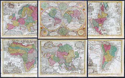 1744 Georg Mattaus Seutter Antique Maps of the World & 5 Continents - 6 Maps