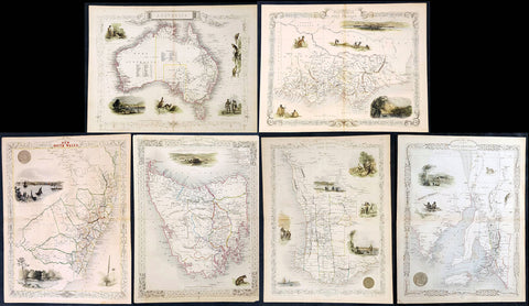 1851 John Tallis Antique Maps of Australia & States WA, SA, Vic, NSW, Tas. x 6