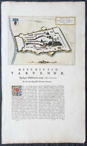 1649 Blaeu Antique Map View of Thérouanne, Tarwanna or Tervanna Northern France