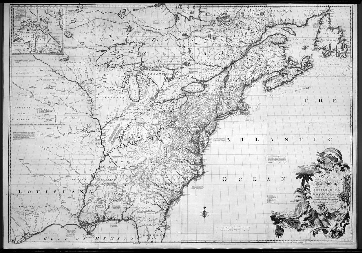 1755 D Anville Large Old, Antique Map of North America, Great Lakes, Indian  Wars