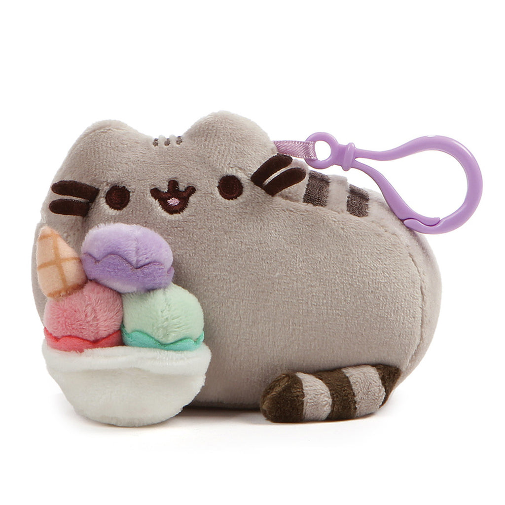 Pusheen with Ice Cream Sundae Backpack Clip 5""