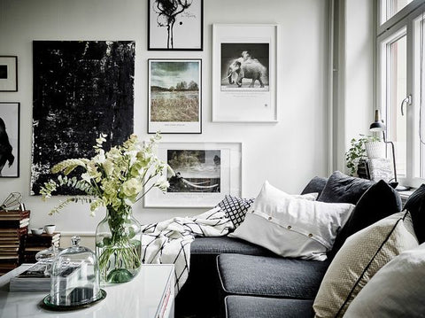 Room with grey sofa