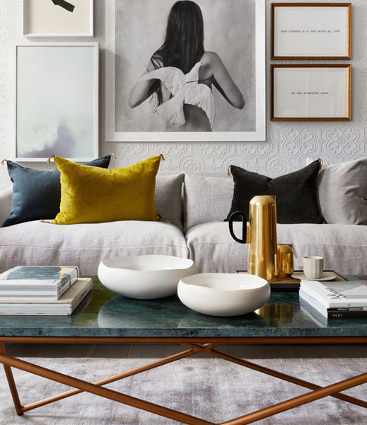 Cushions styled on a white sofa