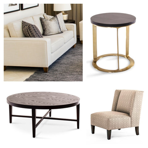 Moodpboard of Hamilton sofa, Ascot round coffee table, Katie chair and Brompton side table