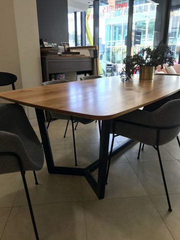 concept dining table floor stock clearance