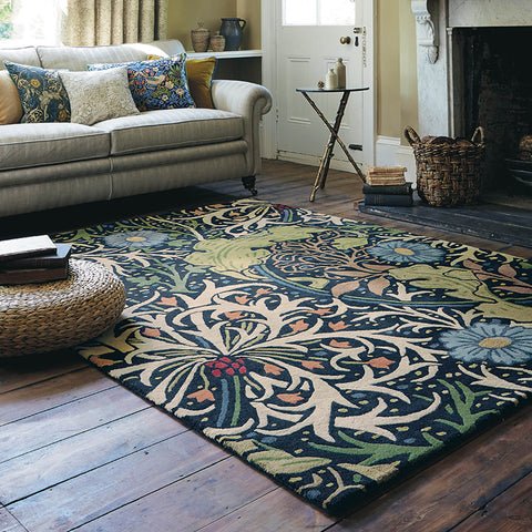 colourful rug in living room
