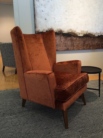Thomas occasional chair in a rust coloured vintage velvet