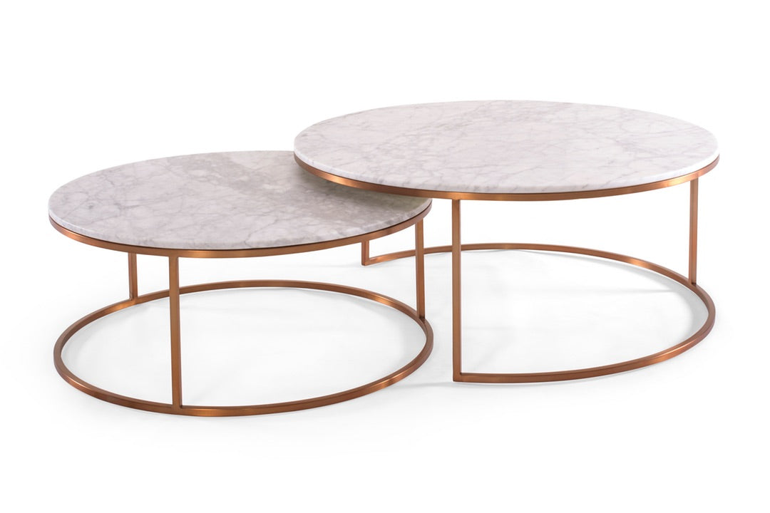 Coffee Tables by Urban Rhythm, featuring the Elle Round Marble Nest coffee table from Globewest