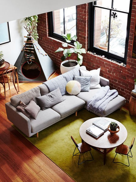 Family Living Room With Grey Sofa