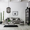 A monochrome living room