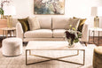 Bianca sofa range in a 3 seater with Jupiter ottoman and elle rectangular travertine coffee table