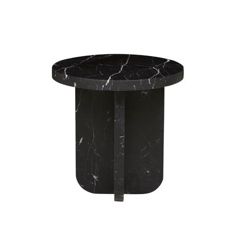 Amara Curve Marble Side Table - Black