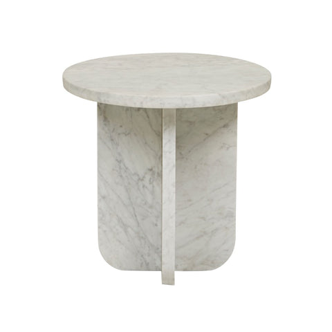 Amara Curve Marble Side Table - White