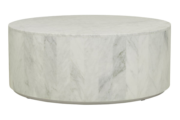 White Marble Coffee Table.Elle Round Block Marble Coffee Table